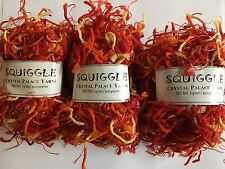LOT of 3 Crystal Palace Yarns Squiggle #9296 Firecracker - Red Orange Yellow