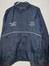 1984 SUPER BOWL XVIII~S.A.F.E. NAVY BLUE ZIP UP JACKET~SZ XLARGE~RAIDERS/REDSKIN