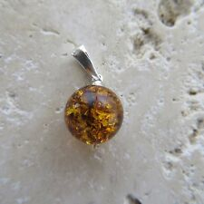 Natural, Cognac / Brown BALTIC AMBER Ball Pendant, 925 STERLING SILVER #1731
