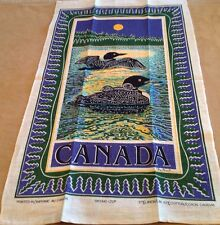 Vintage Kitchen Souvenir Towel, CANADA, Canada Geese, Moon, Trees, Linen-Cotton