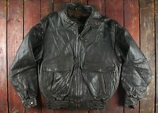 VTG DOG FIGHT BROWN LEATHER FLIGHT BOMBER JACKET W/ REMOVABLE LINING MEDIUM