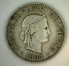 1884 B Switzerland Swiss Helvetia 10 Rappen 10 Cent Coin XF