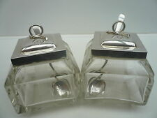 Silver Preserve Jars, Cut Glass, Sterling, Hallmarked 1909, Antique, PAIR