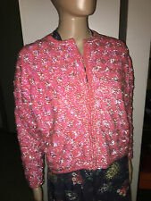 VINTAGE 50'S SEQUIN CARDIGAN BARBIE PINK SILK LINED SHIMMER SWEATER GLITTER BEAD
