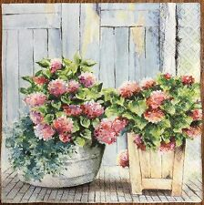 2 single paper napkins decoupage collection Serviette Home Garden Bucket Flowers