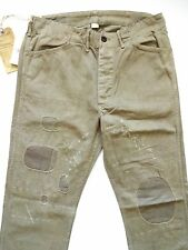 New Ralph Lauren RRL Olive Green 100% Cotton Repaired Work Pants size 38 x 34