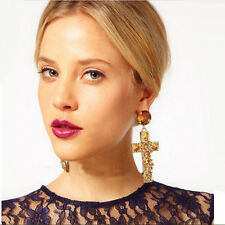 Jewelry Elegant Women Lady Alloy Golden Cross Rivet Rhinestone Large Earrings