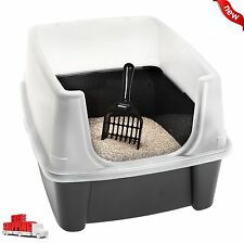 NEW Clean Pet Cat Kitty Open Top Cats Litter Box with Shield & Scoop Black LARGE