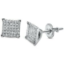 Square Micro Pave Hip Hop .925 Sterling Silver Earrings