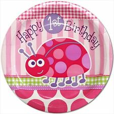 LADYBUG 1st Birthday SMALL PAPER PLATES (8) ~ First Party Cake Dessert Pink Girl