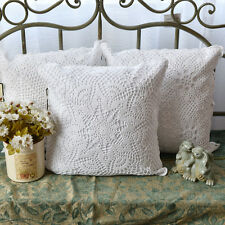 Vintage Style Floral Hand Crochet Flower Cotton White Cushion Cover