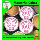 24 PERSONALISED 60th PINK BIRTHDAY DESIGN EDIBLE RICE PAPER CUP CAKE TOPPERS