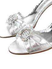 MANOLO BLAHNIK Crystal Rhinestone Silver LUCCADO SEDARABY 36/6.0/6.5 RETAIL $765