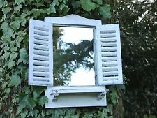 Vintage French Style Wooden Garden Wall Mirror with Shutters Rustic Shabby Chic