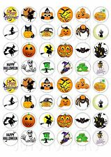 48 MINI HALLOWEEN CUPCAKE TOPPER WAFER RICE EDIBLE FAIRY CAKE BUN TOPPERS