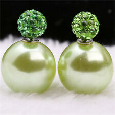 DF12 Crystal & Faux Pearl Ball Double Sided Earrings