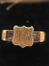 Antique Victorian Memorial Hair Work In Memory Of Ring 15ct Yellow Gold
