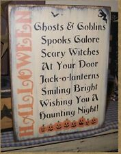 PRIMITIVE HALLOWEEN SIGN~HALLOWEEN SAYING~PUMPKINS~WITCH~~BLACK CATS~~GHOSTS~~