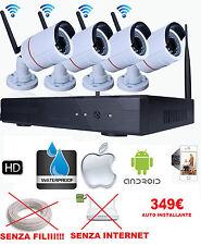 KIT  VIDEOSORVEGLIANZA SENZA FILI WIFI 4 TELECAMERE RICEVITORE + DVR AHD 1.3MPX