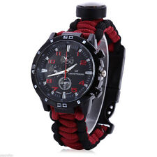 Multifuctional 6 in 1 Survival Paracord Bracelet Compass Watch Black & Red