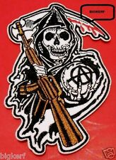 "GRIM REAPER  SONS OF ANARCHY  3 1/4"" X 5 1/4""  ROADGEAR BIKER PATCH-SEW OR IRON"