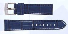 Blue Genuine Leather Band w/ White Stitching