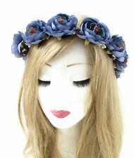 Indigo Blue Tea Rose Flower Headband Hair Crown Wreath Garland Boho Ribbon 776