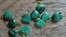 Malachite Heart Cabochons with Gold Loops 12-13mm Small (pkg of 10)