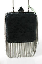 Monika Chiang Black Textured Chain Trim Detail Hard Shell Clutch Handbag