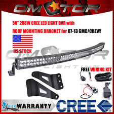 50Inch 288W CREE LED Light Curved Bar + 07-13 CHEVY/GMC Roof Mount Brackets EM