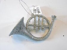 Silver Glitter Musical Instrument French Horn  Christmas Ornament Decoration