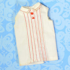 Vintage Skipper Doll Clothes School Girl White Blouse w/ Red Buttons 1965 VGUC