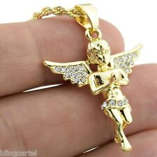 "Micro Angel Iced-Out Wings Pendant Hip Hop Chain Gold Tone 24"" In Rope Necklace"