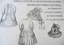 LA POUPEE MODELE PATTERN FOR 2-PC COSTUME & 2 HATS FOR FRENCH BEBE OR LADY DOLL