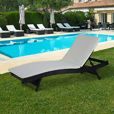 Rattan Wicker Chaise Lounge Chair Adjustable Outdoor Patio Furniture w/Cush