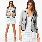 Womens Nice Tunic Volume Sleeve Suit Bodycon Blazer Coat Jacket Outerwear Gray