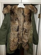 Private Label + Unbranded Real Rabbit/Raccoon Fur Military Parka, L, Mens