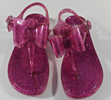 Gymboree Spring Glitter Pink Bow Child Girl's Jelly Plastic Shoes Sandals 11/12