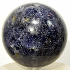 "2.8"" Rich Blue Iolite Sphere Sparkling Natural Water Sapphire Mineral Ball India"
