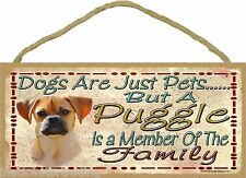 "Dogs Are Just Pets But A Puggle Is Part Of The Family Dog Sign Plaque 5""x10"""