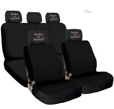 New Black Flat Cloth Car Seat Covers with Embroidery Headrest Cover for Toyota