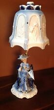VINTAGE DRESDEN STYLE WOMAN TABLE LAMP BLUE WHITE