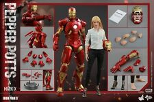 HOT TOYS 1/6 MMS311 MARVEL IRON MAN 3 PEPPER POTTS & MK9 MARK IX FIGURE SET