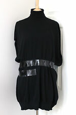 MARTIN MAISON MARGIELA black wool tape turtleneck jumper sweater dress Large L