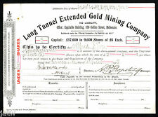 Share Scrip - Gold Mining. 1905 Long Tunnel Extended Gold Mining Co - (Walhalla)