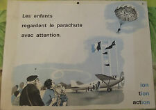 Ancienne Affiche Élocution Lecture MDI N°61/62 Avion,Parachute,ION: Phoque PH