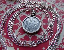 "Roaring African Lion Coin Bezel Pendant on a 30"" 925 Sterling Silver Chain"