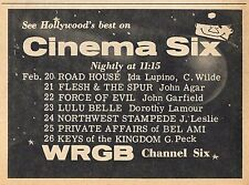 1960 WRGB TV AD~CINEMA SIX MOVIES in ALBANY,NEW YORK~FORCE OF EVIL~NIGHTLY 11:15
