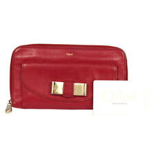 Authentic CHLOE Logo Ribbon Long Bifold Wallet Purse Leather Red Bulgaria 07G034