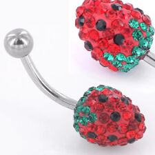 """14g 7/16"""" Strawberry Delight Crystal Explosion Steel Belly Button Ring"""